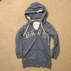 Abercrombie & Fitch 3/4 sleeve zip up blue hoodie